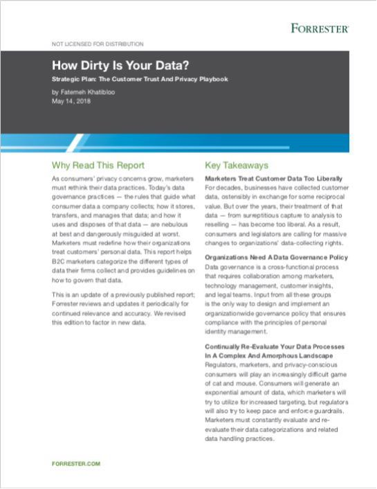 Forrester Report: How Dirty Is Your Data?